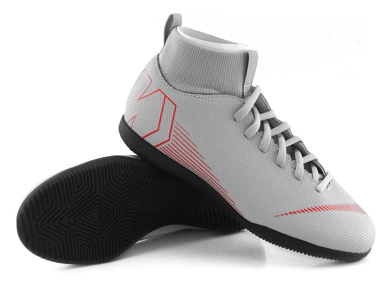 Szaro czarne buty piłkarskie na halę Nike Mercurial Superfly Club IC AH7346 060 JR