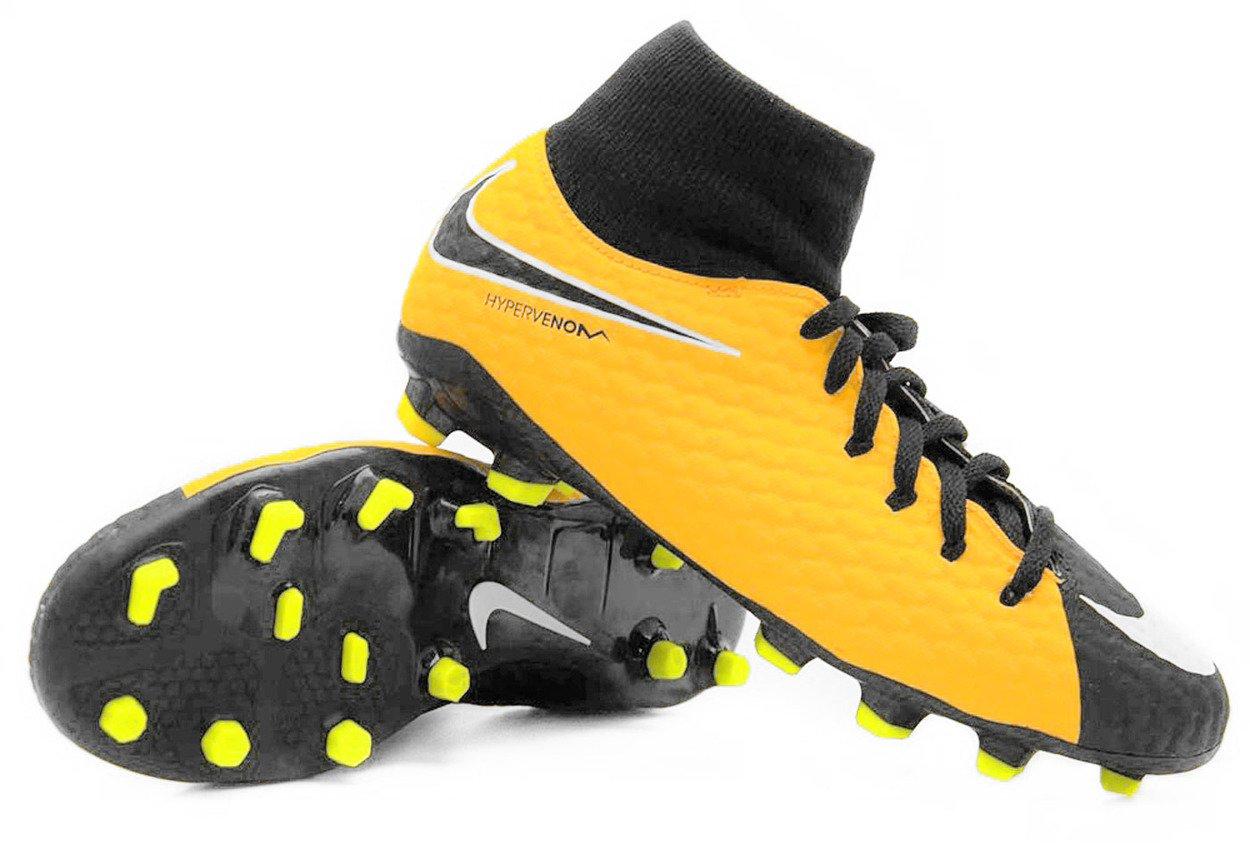 100% najwyższej jakości Cena hurtowa niskie ceny Żółto-czarne buty piłkarskie Nike Hypervenom Phelon DF FG 917772-801 JR